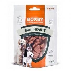 Boxby snacks de pollo y pescado Puppy MNI HEARTS 100 g
