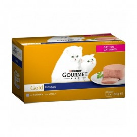 Purina Gourmet Gatitos Mousse con Ternera Pack 4x85 g