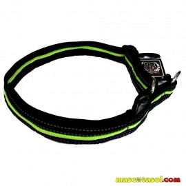 Collar Nylon Training 3x40-65 cm negro y verde fluorescente